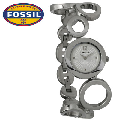 Fossil-Bracelet-Watch-for-Ladies-with-Circular-Band-Design-and-Textured-Metallic-White-Dial